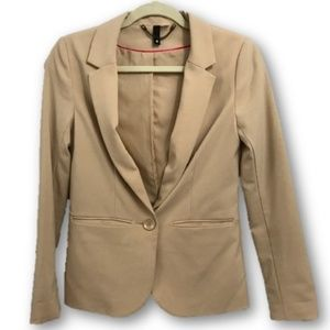 Jackets & Blazers - Tan notch lapel long sleeve office blazer